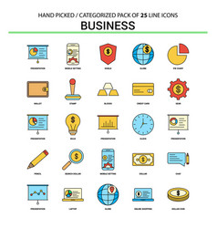 business flat line icon set - business concept vector image