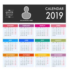 calendar for 2019 on white background week starts vector image
