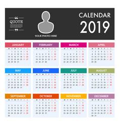 calendar for 2019 on white background week starts vector image