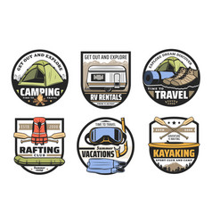 camping tent boots boat rv and kayak travel vector image
