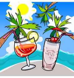 cartoon glasses with cocktails on a tropical beach vector image