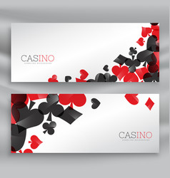 casino banners with playing cards symbols vector image