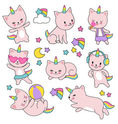 Catroon cute white cat unicorns set vector