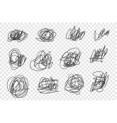 chaotic tangled scrawls set vector image