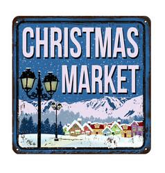 Christmas market vintage rusty metal sign vector