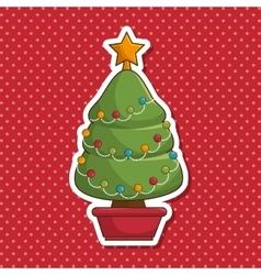 Christmas tree character kawaii style vector