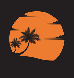 Coconut trees on beach sunset background vector