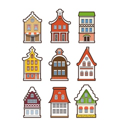 Collection of colorful vintage houses vector