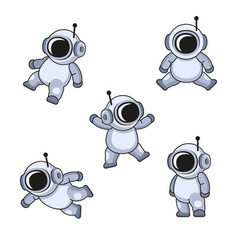 Cute cartoon style cosmonaut in spacesuit icons vector