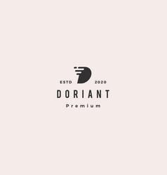 d letter dash digital fast logo hipster retro vector image