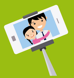 Dad and daughter become a selfie with the mobile vector