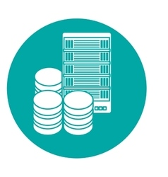 data center storage two tone button icon image vector image
