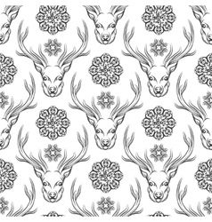 Deer head and flowers seamless pattern vector image