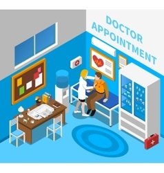 Doctor Examining Patient Isometric Poster vector
