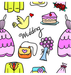doodle of wedding element colorful style vector image