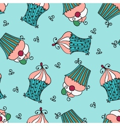 doodle seamless pattern with sweet cupcakes vector image