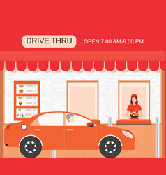 Drive thru fast food restaurant on a brick vector