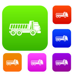 dumper truck set color collection vector image