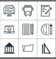 education icons set with school bus notebook e vector image