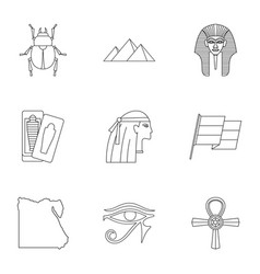 Egypt travel icons set outline style vector