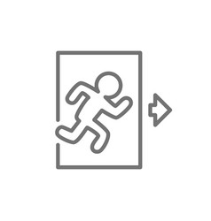 Emergency exit man running out sign line icon vector