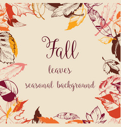 fall dry leaves frame space for text vector image