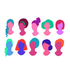 Female faceless profile pictures avatars vector