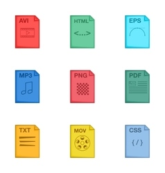 File type icons set cartoon style vector