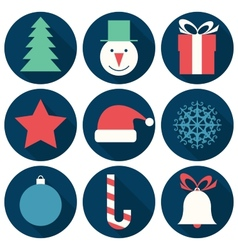 Flat Christmas icons vector image