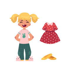 flat girl kid and outfit apparel set vector image
