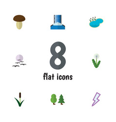 Flat icon nature set of cascade forest floral vector