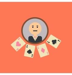 flat icon on stylish background poker dealer vector image