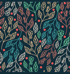 floral seamless pattern with leaves and beautiful vector image