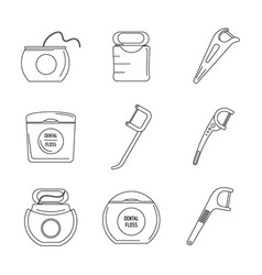 Floss dental teeth icons set outline style vector