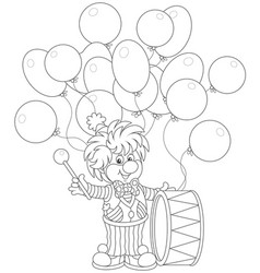 funny clown drummer vector image