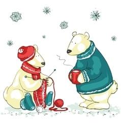Funny polar bears vector