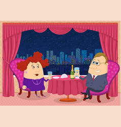 gentleman and lady in restaurant vector image