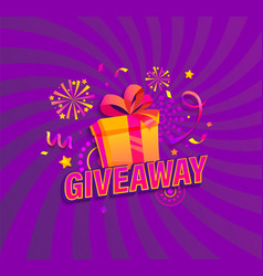 Giveaway bannerwin poster with gift box and prize vector