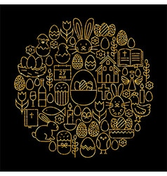 Gold and Black Happy Easter Line Icons Set Circle vector image