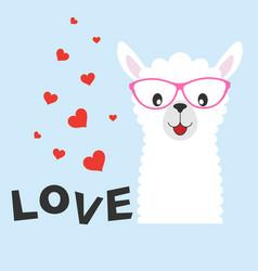 greeting card cute baby lama vector image