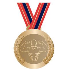 Gym sport gold medal vector