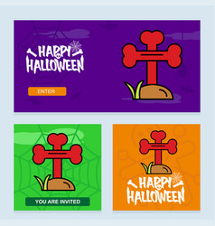 happy halloween invitation design with grave vector image