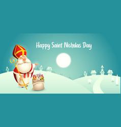 happy saint nicholas day - winter scene vector image