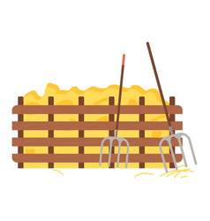Hay protected with wooden fence hayfork tool vector