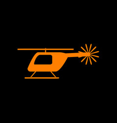 helicopter sign orange icon on black vector image