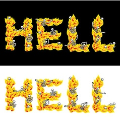 Hell text fire letters skeletons in inferno vector