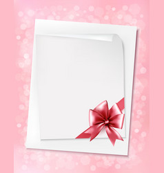 Holiday background with sheet of paper and pink vector image