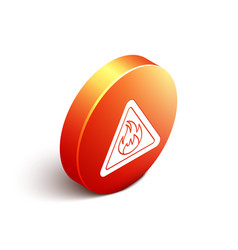Isometric fire flame in triangle icon isolated on vector