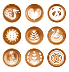 Latte art set vector