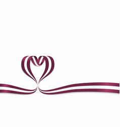 latvian flag heart-shaped ribbon vector image